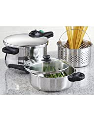 5 - Pc. Fagor Rapida Stainless Steel Pressure Cooker Set by Fagor