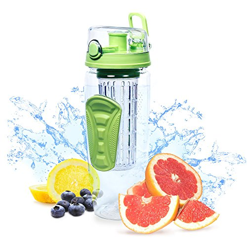 New Fruit Infuser Watertight Bottle Drink Mixer (32oz) Best Sellers Sports Bottle - Enjoy infused water & Healthy Diet Iced Tea & Lemonade (Water Bottle Fruit Mixer compare prices)