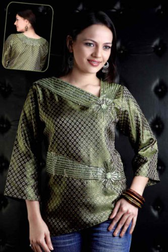 Forest Green jacquard Kurti / Tunic with stylish bead work