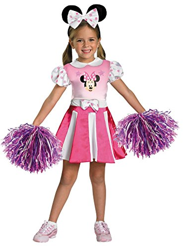 Disney Little Girls Minnie Mouse Cheerleader Costume with Pink Dress & Pompoms M