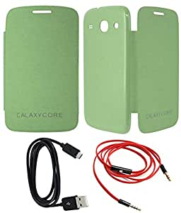 TBZ Flip Cover Case -Light Green for Samsung Galaxy Core I8262 with Data Cable and Aux Cable
