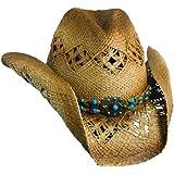 Scala Women's Beaded Straw Cowboy Hat