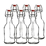 Easy Cap Beer Bottles - Kombucha Bottles - 16 oz. - Clear 6 pack - EZ Cap -- Original Cherry Blossom Hardware Bottles (6, Clear)