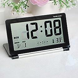 Smileto® Multifunctional Silent LCD Mini Digital Travel Desk Electronic Alarm Clock With Date/Time/Calendar/Temperature Display, Snooze, Folding (Black)
