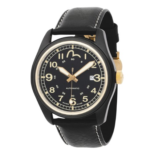 Evisu 'Hiro Automatic' Gents Stainless Steel Automatic Leather Strap Watch with extra Nylon Strap
