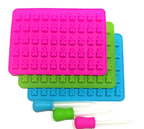 Gummy Bear Candy Mold Set By Custom Kid Cakes - Premium Quality, Food Grade, FDA Approved Silicone - 150 Candy Pieces At Once - Non Stick & Heat Resistant Mold Trays - Pack Of 3 - Pink, Blue & Green (Gummy Bear Cake compare prices)