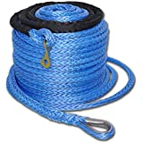 """92'x2/5"""" Winch Synthetic Rope Cable W Thimble Sleeve 17500 12000 10000 8000lb ATV SUV Recovery Replacement"""