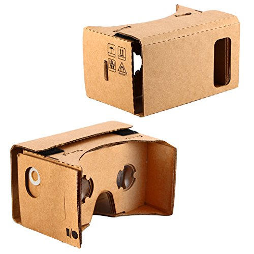 """KR-NET Bigger Google Cardboard - VR 3D Virtual Reality Glasses Camera Headset Controller DIY Kit for Large Smart Phone Galaxy Note 3 4 5 iPhone 6/6S Plus 5.7"""""""