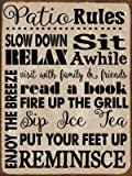 Patio Rules Rules Metal Sign, Motivational Rules to Live By, Positive Thinking, Modern Decor