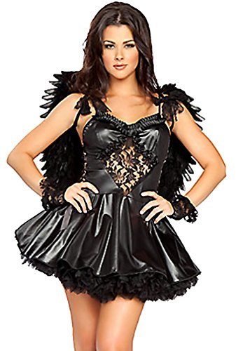 Q.Passion Hot Dark Angel Costume with Thong and Wings A05