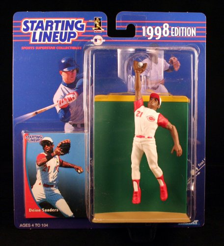 DEION SANDERS / CINCINNATI REDS 1998 MLB Starting Lineup Action Figure & Exclusive Collector Trading Card