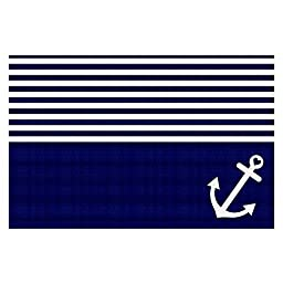 Area Rug, Kitchen Mat, Bath Mat with Chevron Weave Unique, Decorative, Stylish from DiaNoche Designs by Organic Saturation - Navy Blue Love Anchor Nautical