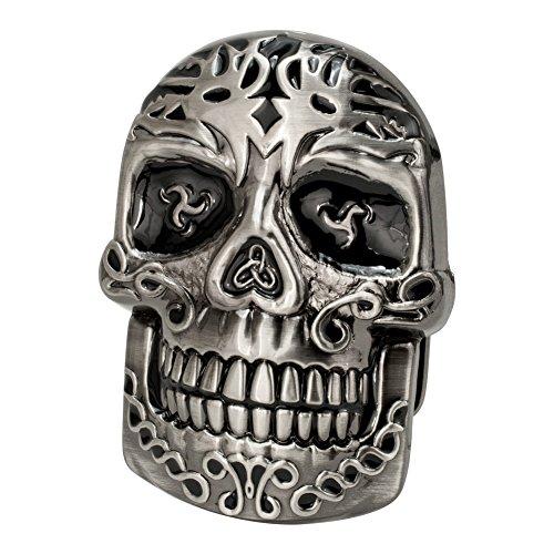 Buckle Rage Adult Mens Celtic Intricate Medieval Skull Tribal Belt Buckle Silver