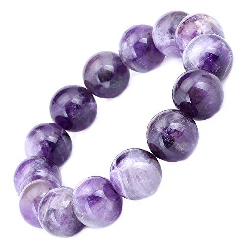16mm Round Purple Amethyst Bead Gemstone Stretchy Bracelet 8.5 Inch (Gem Stone King Bead Bracelet compare prices)