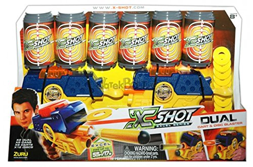 X-Shot Dual Double Blaster Gun Pack - Cans, Darts, and Discs Action Shooter - 1