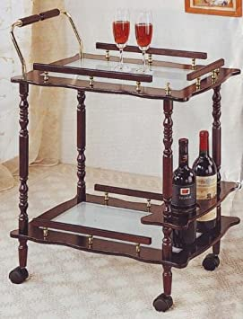 Amazing Cherry Finish Wood Kitchen Serving Cart Glass Top Brass Coaster Furniture COAS LL Review