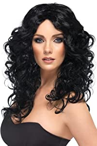 Smiffy's Glamourous Look Wig, Black, One Size
