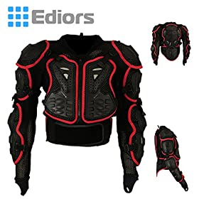Ediors Motorcycle ATV Dirt Biker Mx Off Road Full Body Armor Protector Pro Street Motocross Jacket Shirt Black/red (X-large)