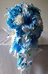 Turquoise White Ivory Cascading Bridal Wedding Bouquet & Boutonniere