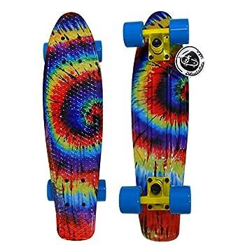 "22"" Tie dye Fish Skateboard Retro Plastic Cruiser Vinyl Psychedelic Vintage 60's"
