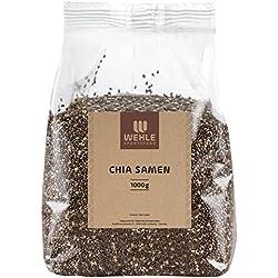 Premium Chia Samen in Deutschland geprüfte Qualität │ 1 kg Beutel Chiasamen ohne Zusätze (Salvia hispanica) │ 1000g Chia Seed liefert Proteine Omega 3 und Ballaststoffe │ Vegan, Glutenfrei, Rohkost