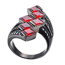 buy Chic Luxury Ruby Rings Black Wedding Jewelry Vintage Black Gold Filled For Women Engagement