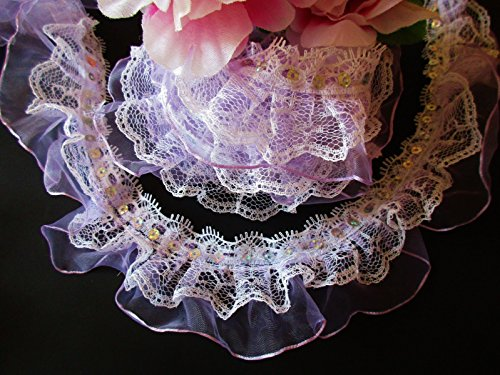2-wide-light-purple-sequin-double-layer-ruffled-lace-ruffle-trimming-gingham-elastic-trim-ruffle-rib