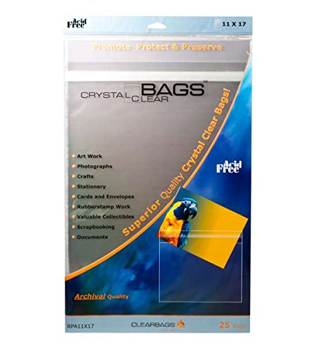 "ClearBags RPA11X17 Crystal Clear Protective Closure Bags, Retail Pack, 11"" x 17"" (Pack of 25)"