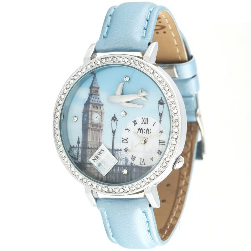 Ufingo-Korean Rhinestone Fashion Creative Students Handmade Polymer Clay Watch-Airplane Clock Tower Theme Dial