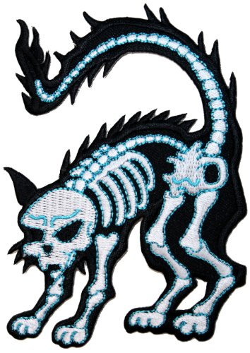 Novelty Iron On Patch - Creepy Zombie Dead X Ray Bones White Devil Cat Animal Applique