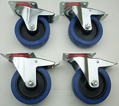 4-Stck-125mm-Blue-Wheels-Lenkrollen-mit-Feststellbremse-Bremse-FS-Transportrollen-200kgRad-INDUSTIREQALITT