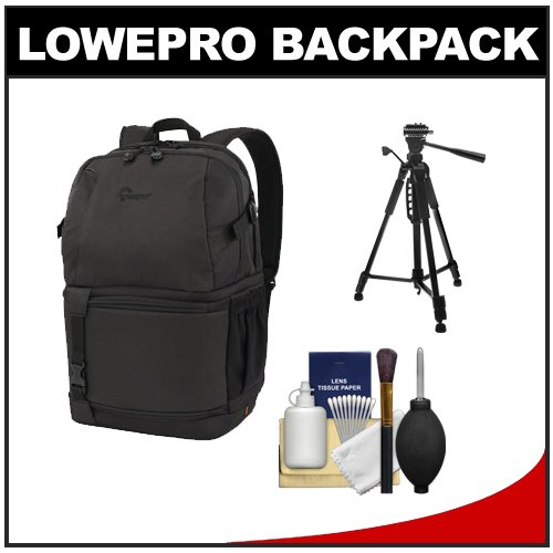 Lowepro DSLR Video Fastpack 250 AW Digital SLR Camera Backpack Case (Black) with Tripod + Cleaning Kit for Canon EOS 70D, 6D, 5D Mark III, Rebel T3, T5i, SL1, Nikon D3100, D3200, D5200, D7100, D600, D800, Sony Alpha A65, A77, A99