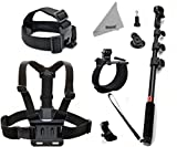 DEYARD ZG-634 GoPro Accessories Kit Set of 4 for GoPro HD Hero 1 2 3 &3+: Head Strap Mount + Chest Harness with J-hook Mount + Wrist Mount + Extendable Handheld Monopod with Tripod Mount +Thumbscrew +DEYARD Superfine Fiber Cloth