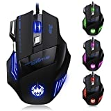 [2015 T80 New Version]JEECOO ZELOTES 5500 DPI Breathing LED Optical Gaming Mouse For PC Mac, Adjustable DPI Switch Function, 7 Buttons