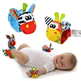 4XBaby Infant Soft Toy Wrist Rattles Foots finders