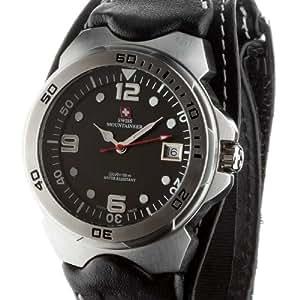 Black Leather Watch Velcro Strap White Stitching Reloj SM1450: Watches