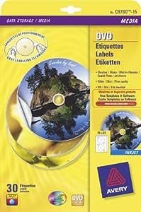 Avery - Etiquettes couleur adhésives - Etiquettes et jaquettes pour DVD - POCH 30 ETIQUETTES DVD JET ENCRE