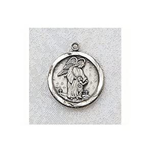 Sterling Silver Guardian Angel Medal with 18 inch chain