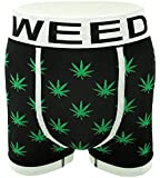 Men's Novelty Boxer Shorts Briefs Trunks Underwear WEED LEAF (3 pack or Single) Black Red White