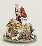 "6"" Joseph's Studio Musical Kneeling Santa with Jesus Religious Christmas Figure"