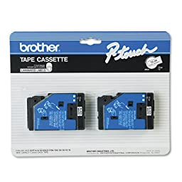 Brother P-Touch TC Tape Cartridge for P-Touch Labelers, 3/8w, Black on White