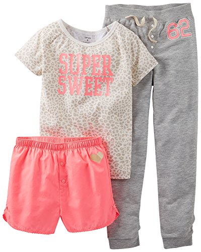 Carters Big Girls 3-Pc. Super Sweet Pajama Set 12 Coral/Grey front-1064437