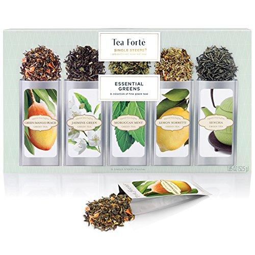Tea Forté Green Tea Assortment SINGLE STEEPS Loose Leaf Tea Sampler, 15 Single Serve Pouches
