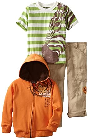 Nannette Boys 2-7 3 Piece Zebra Stripe French Terry Jacket Set, Open Orange, 6