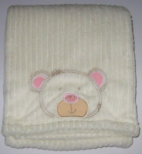 Cream Baby Blanket with Appliqued and Embroidered Teddy Bear Face - 1