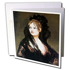 BLN Portrait Gallery by the Masters Fine Art Collection - Portrait of Dona Isabel de Porcel by Francisco De Goya - 6 Greeting Cards with envelopes (gc_128069_1)