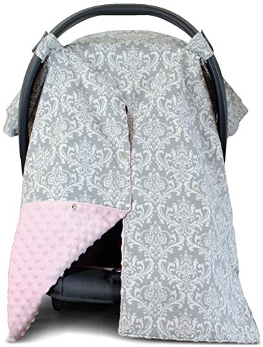 Premium Carseat Canopy Cover and Nursing Cover- Large Damask Pattern w/ Pink Minky | Best Infant Car Seat Canopy for Girls | Cool/ Warm Weather Car Seat Cover | Baby Shower Gift for Breastfeeding Moms (Baby Car Seat Covers Pink compare prices)