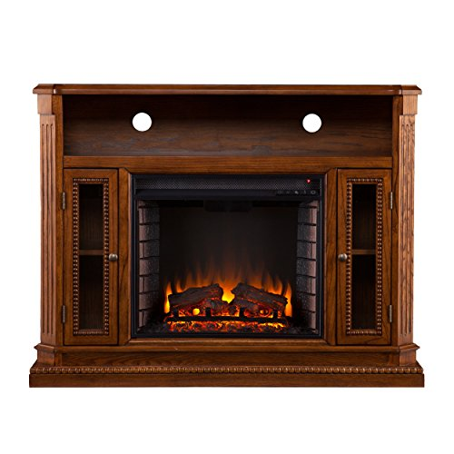 Southern Enterprises Amz2539Fe Davis Media Console/Stand Electric Fireplace, Brown Oak