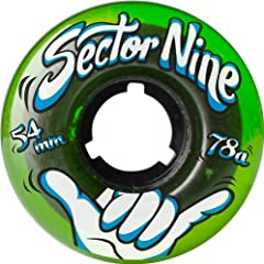 Buy Sector 9 Nine Balls Skateboard Wheel, Green, 54mm 78A by Sector 9
