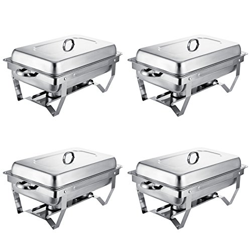 Mophorn Chafing Dish 4 Packs 8 Quart Stainless Steel Chafer Full Size Rectangular Chafers for Catering Buffet Warmer Set with Folding Frame (4 Packs)